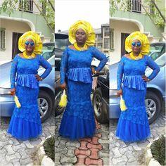 Nigerian wedding blue and yellow ore-iyawo aso-ebi color combination