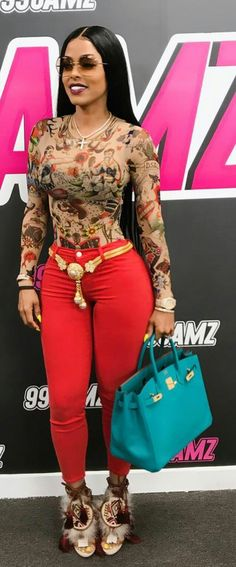 Keshia Kaoir. Ootd. Summer Outfits. Pretty. Red. Gold Accessories. Teal. Aztec Bodysuits. High-Waisted Pants. Follow @lacedior Pinterest.