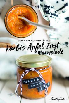 Mhhh diese Marmelade sollten Sie sich nicht entgehen lassen: Kürbis-Apfel-Zimt-Marmelade ohne Zucker! #Marmelade #Kürbis #ohnezucker #Herbst #Geschenkidee