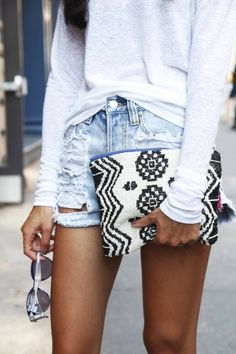 tribal print clutch and cut offs
