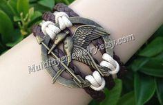 Mockingjay pin braceletcatching fireleather by Multilayerjewelry, $6.99