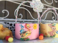 Pearl Pink Shabby Chic Retro Duck Bunny & Lamb Small EASTER BASKET Decor Decorations Handpainted Decoupage Tin Can by Sweet Vintage Designs by SweetVintageDesignCo on Etsy