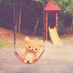 rilakkuma on swing Rilakkuma Plushie, Plushies, Cute Stuffed Animals, Cute Animals, Desu Desu, Hamster, Japanese Characters, All Things Cute, Cute Bears