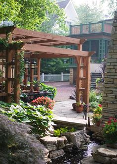 Two of my favorite things: arts and crafts style design, and pergolas. Oh, for climbing roses...