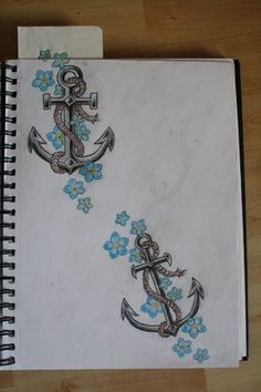 Rope Anchor Tattoo With Blue Flowers