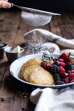 Sweet Buttered Polenta Pancakes with Fresh Summer Berries | halfbakedharvest.com