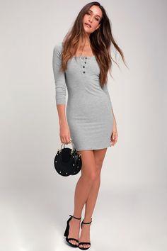 e4f785c87615 Krissy Heather Grey Ribbed Knit Long Sleeve Bodycon Dress