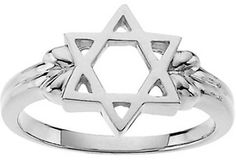 Star of David ring. 14k white gold.