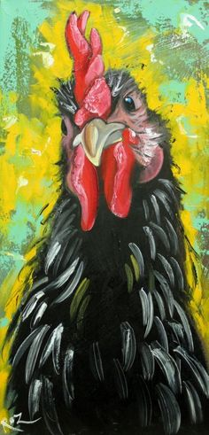 """Rooster #788 - 12x24"""" original oil painting by Roz #Impressionism"""