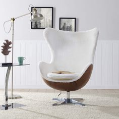 Swivel Rocker Chair in White Faux Fur & Walnut Swivel Rocker Chair, Egg Styles, Modern Furniture, Home Furniture, Cozy Chair, Style Lounge, Ergonomic Chair, Barrel Chair, Mid Century Style