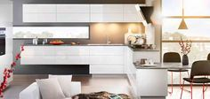 A sleek white kitchen with sharp granite kitchen worktops Kitchen Worktop, Granite Kitchen, Kitchen Cupboards, Küchen Design, House Design, L Shaped Kitchen, Architect Design, Basement Remodeling, Modern Decor
