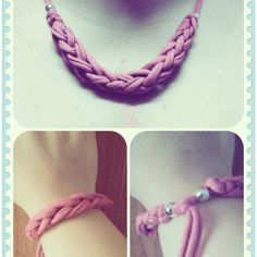 Collar y pulsera de trapillo 2 en 1 anakcomplements.blogspot.com