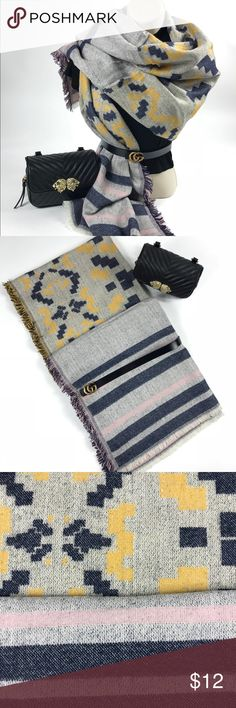 """Beautiful Geo Print Scarf This beautiful Geo Print Scarf will keep you warm and stylish throughout the cold winter months. 90% Acrylic, 10% Wool. Length: 76"""" Accessories Scarves & Wraps"""