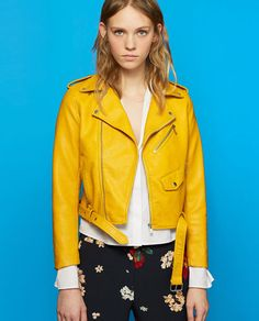 2d0e7724a85b FAUX LEATHER JACKET Yellow Jacket Outfit, Yellow Coat, Yellow Leather, Pu  Jacket,