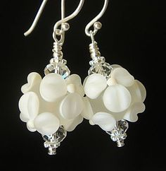 White Floral Lampwork Earrings with Handmade lampwork Beads and Sterling Silver