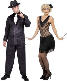 Halloween, Halloween Costumes Couples, Halloween Costumes diy, -20's Jazz Black Dress & Pinstripe Gangster