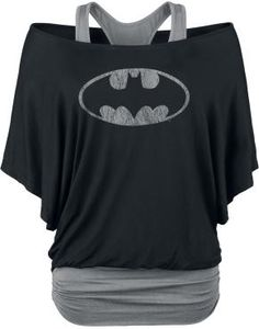 "Batman Long-sleeved Shirt, Women ""Logo"" black-grey • EMP I was looking for a shirt I saw from a pin and found this! I want one!"