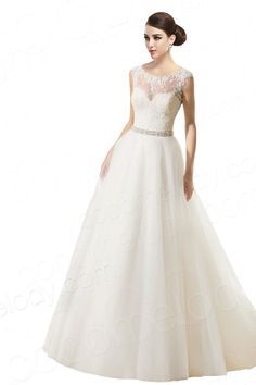 Classic A-Line Illusion Court Train Tulle Ivory Sleeveless Zipper With Button Wedding Dress with Beading and Appliques CWXT14056