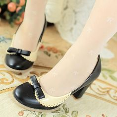 [US$34.26] - Women Vogue Black Chunky Heels with Bow Decoration : ThatsPoint.com