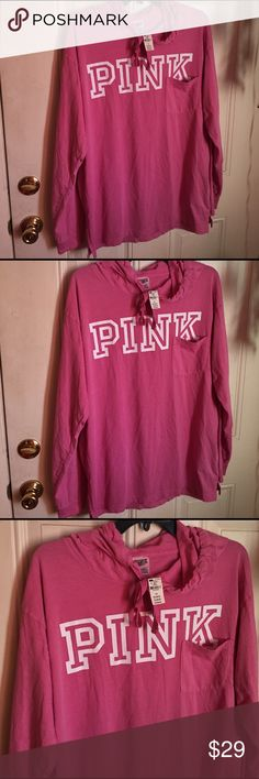 Love pink hoodie Love pink hoodie drawstring around the hoodie pocket in front size large nwt pink long sleeve no trades price firm love pink Tops Tees - Long Sleeve
