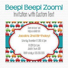 Car Birthday Party Invitation, Boy Baby Shower Invite, Transportation Party Theme -- Printable File on Etsy, $10.00