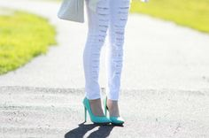 Chloe from Chloe's Addiction in the Mint Ella Pumps (http://www.nastygal.com/by-nasty-gal-shoes/ella-pump-mint) #ShoeCult