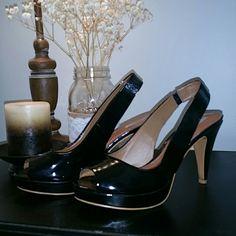ZARA heels Worn a few times, very comfortable.  Black sling back heels. Peep toe. Size 39. Fits 8.5 Zara Shoes Heels