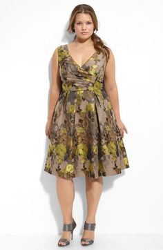 I adore this dress! The colors and the style..! Adrianna Papell Pleated V-Neck Dress
