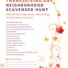 Free Thanksgiving Neighborhood Scavenger Hunt Printable