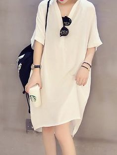 V neck Women Casual Dress Shift Daytime Casual Cotton-blend Paneled Solid Dress