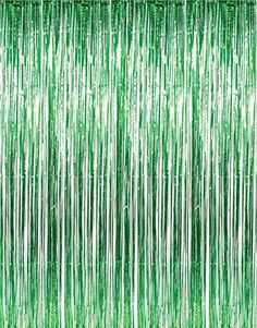 GIFTEXPRESSⓇ Metallic Green Foil Fringe Curtain set of 2/Photo Backdrop/hanging Tinsel/Hanging curtain/foil fringe window cutain/doorway curtain/entrance curtain