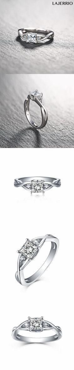 Lajerrio Jewelry Princess Cut White Sapphire S925 Engagement Rings