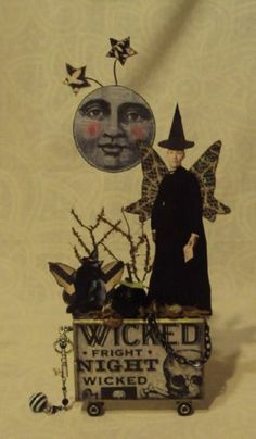 altered art fairy block HALLOWEEN WICKED folk cat ORIGINAL mixed media collage