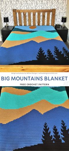 I absolutely love this blanket - it's such a sweet reminder of how beautiful mounters are and how calming it is to wander near them. Crochet Gratis, Free Crochet, Knit Crochet, Crochet Quilt, Knitted Baby, Afghan Crochet Patterns, Crochet Stitches, Yarn Projects, Crochet Projects