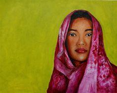 "Jun Jamosmos, ""Magenta Girl"" | Oil on Canvas | $4,500 | Source: http://www.art-mine.com/artistpage/jun_jamosmos.aspx | Agora Gallery | Contemporary Fine Art | NYC, NY"