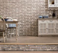 Sensational Sabbia Brick Slips for this kitchen feature wall providing more light and space