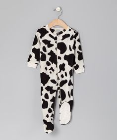 Take a look at this Black Cow Fleece Footie - Infant, Toddler & Kids on zulily today!