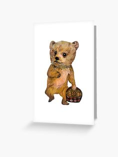 """""""Baby Bear with Pine Cones """" Greeting Card by MariaSibireva 