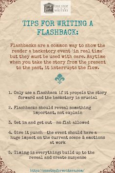 Novel Writing Tips - Flashbacks Creative Writing Tips, Book Writing Tips, Writing Words, Fiction Writing, Writing Resources, Writing Help, Writing Skills, Writing Prompts, Writing Ideas