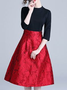 238dd093a Red-Black A-Line Casual Jacquard Christmas Party Midi Dress Falda De Encaje,