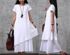 Lässige lose passende Baumwolle Kleid  rot  Frauen von deboy2000