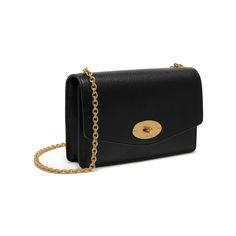 Postman's Lock Clutch in Black Natural Grain Leather | Women | Mulberry