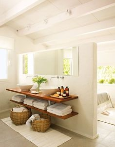 This Bathroom Decor Suggestion makes it really easy to provide your bathroom a f. This Bathroom De Bad Inspiration, Bathroom Inspiration, Interior Inspiration, Bathroom Renos, Laundry In Bathroom, Bathroom Baskets, Open Bathroom, Bamboo Bathroom, Bathroom Modern