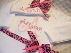 Girls first outfit for home from hospital!  pink animal print for baby girls! Personalized Coming Home Oufit Home From by jennifernoeldesigns, $39.00