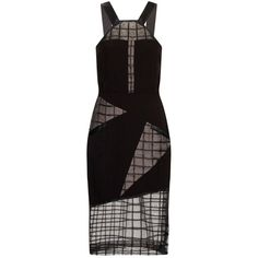 Joana Almagro - Lilly Satin Strap Dress (£415) ❤ liked on Polyvore featuring dresses, sheer dresses, geometric pattern dress, mesh dress, geometric print dress and sheer mesh dress