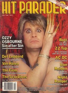 Ozzy Osbourne on the cover of Hit Parader July 1985