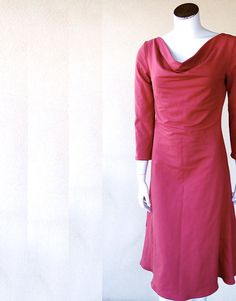 Organic long dress romantic cowl neckline by econica on Etsy, $135.00
