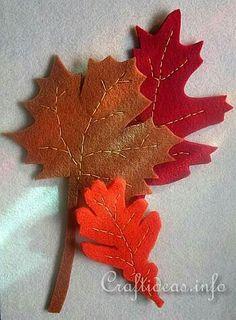 Felt leaves / feuilles en feutrine