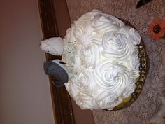 Cake from staters $13 /cake stand from antique store / cake toppers from Etsy
