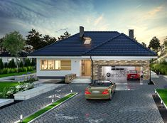Projekt domu Padme 139,65 m2 - koszt budowy - EXTRADOM Simple Bungalow House Designs, Modern Bungalow House, Modern House Design, Single Storey House Plans, Single Floor House Design, House Plans Mansion, Three Bedroom House Plan, Village House Design, Model House Plan